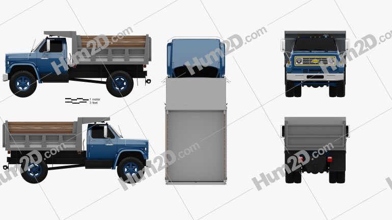 Chevrolet C70 Dump Truck 1979 Clipart Image