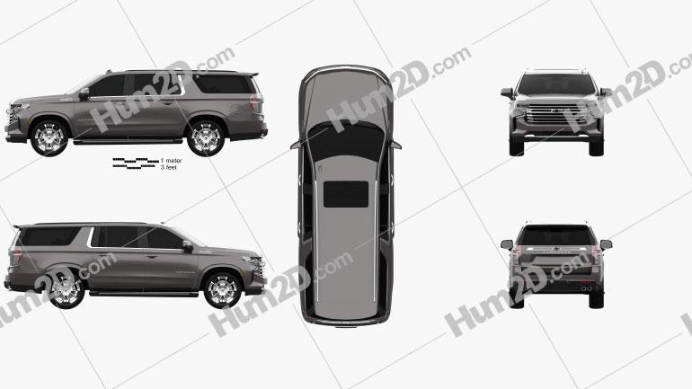 Chevrolet Suburban High Country 2020 car clipart