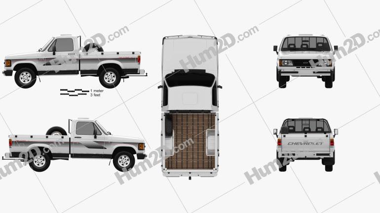 Chevrolet D-20 Single Cab 1992 car clipart
