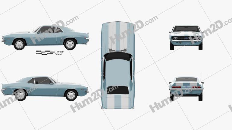 Chevrolet Camaro 350 coupe 1969 car clipart