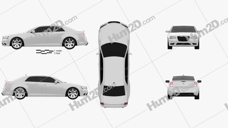 Chrysler 300 SRT8 2012 Clipart Image