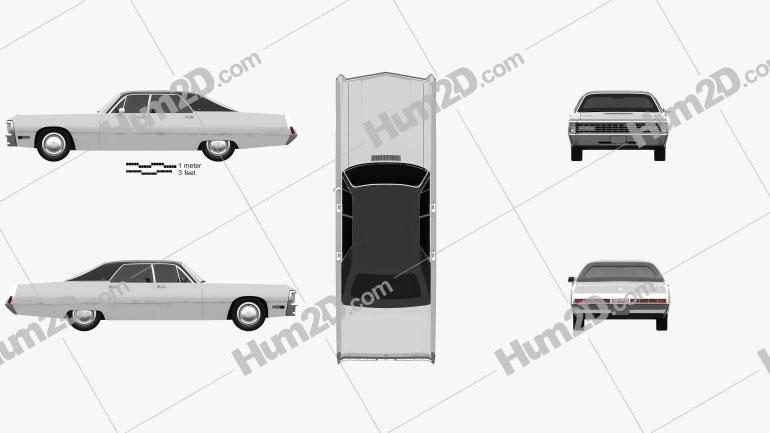 Chrysler Imperial LeBaron 4-door Hardtop 1971 car clipart