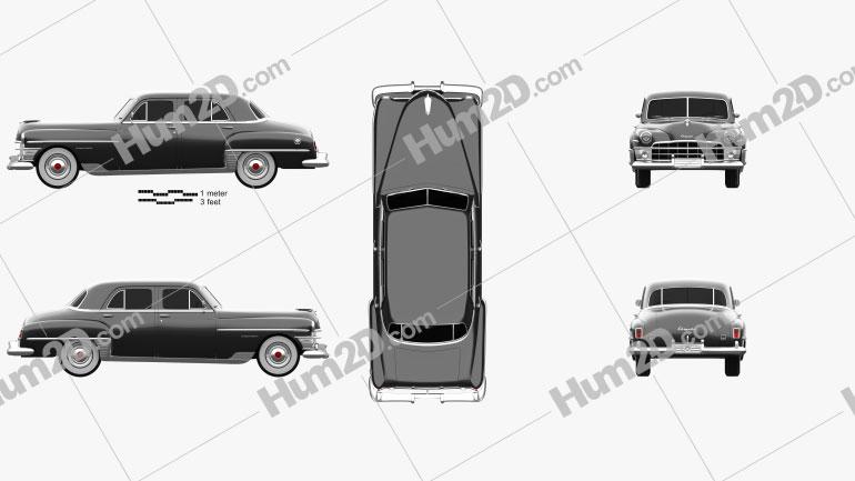 Chrysler New Yorker sedan 1950 car clipart