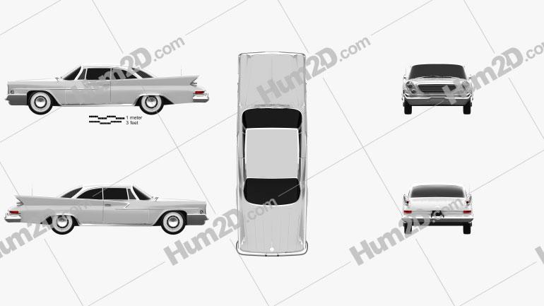 Chrysler Newport 2-door hardtop 1961 car clipart
