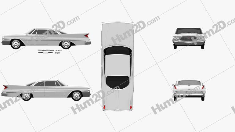 Chrysler Saratoga hardtop coupe 1960 car clipart