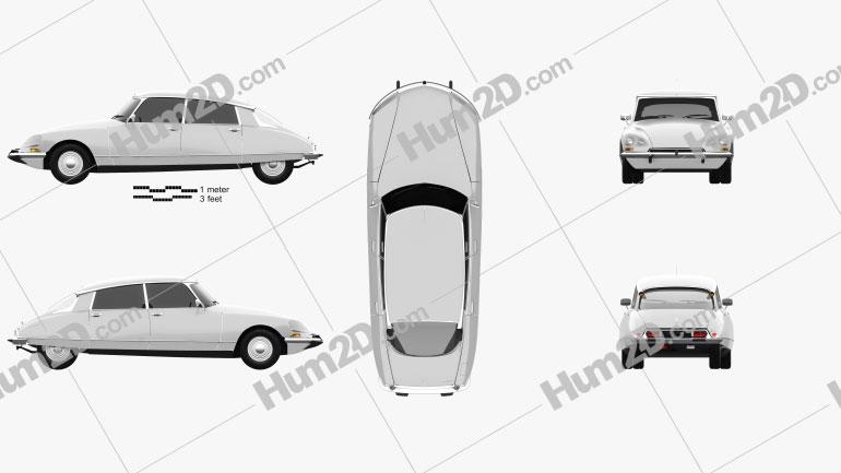 Citroen DS 4-door Sedan 1970 car clipart