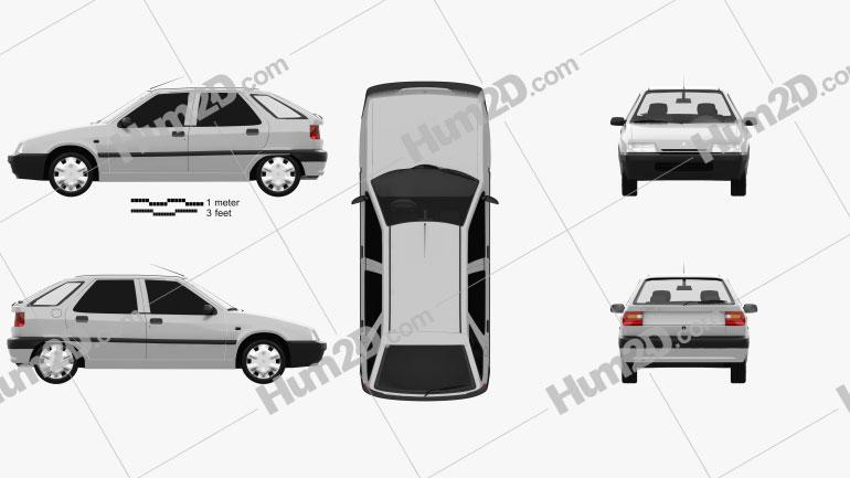 Citroen ZX 5-door hatchback 1991 Clipart Image