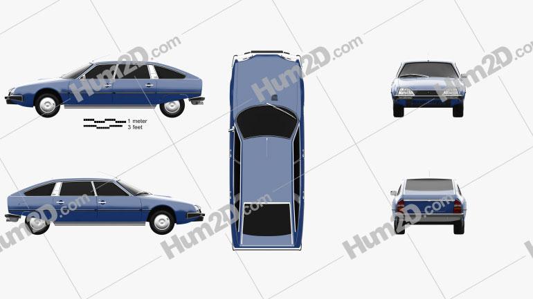 Citroen CX 1975 Clipart Image