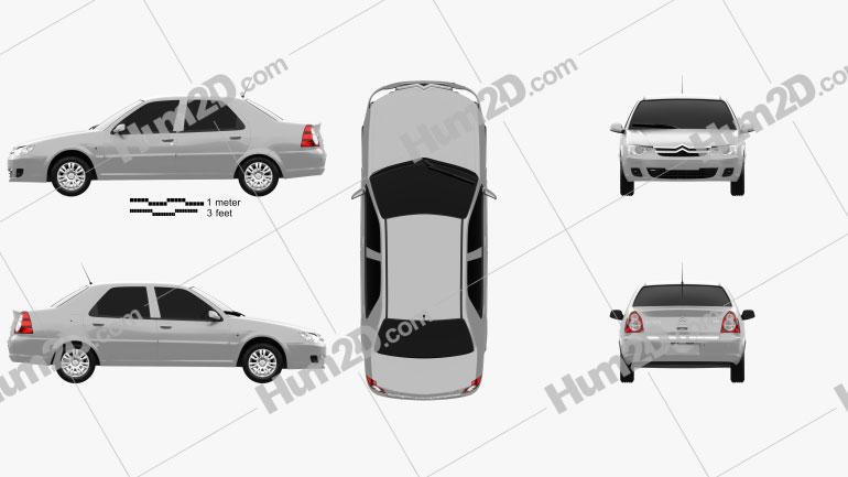 Citroen C-Elysee sedan 2008 car clipart