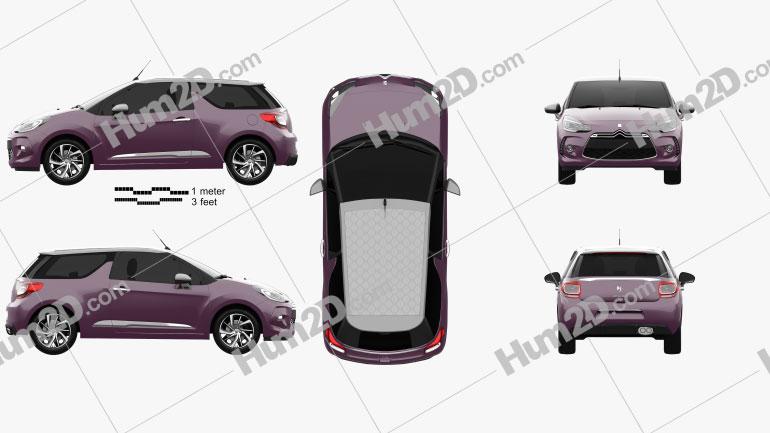 Citroen DS3 convertible 2014 Clipart Image