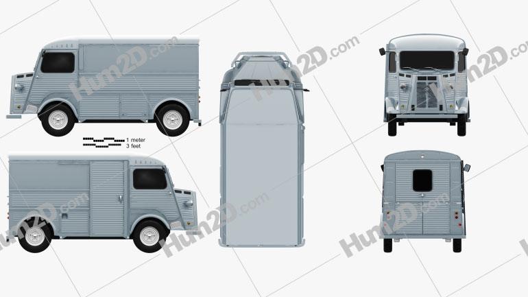 Citroen H Van 1964 clipart