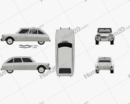 Citroen Ami 8 1969 car clipart