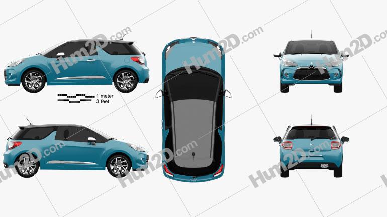 Citroen DS3 coupe 2014 Clipart Bild