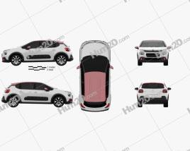 Citroen C3 2017 car clipart