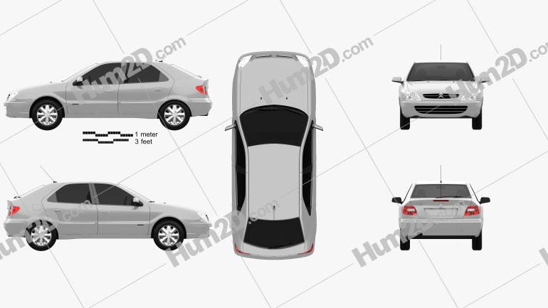 Citroen Xsara 5-door hatchback 2000 Clipart Image