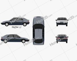 Citroen Xantia hatchback 1994 car clipart