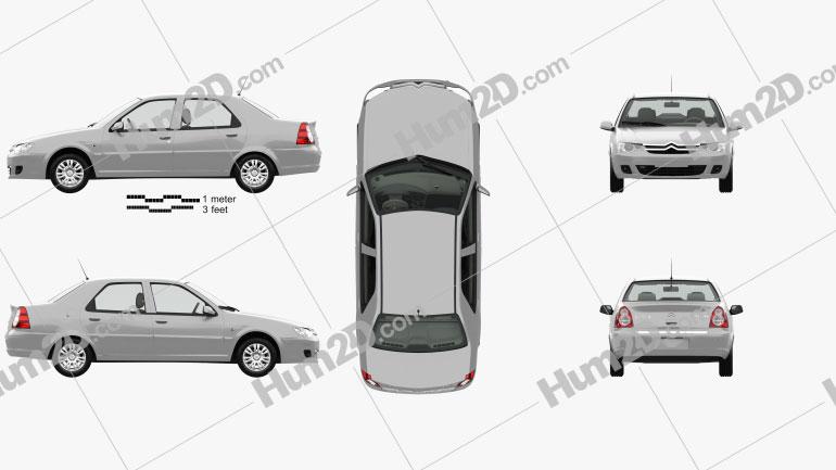 Citroen C-Elysee with HQ interior 2008 car clipart