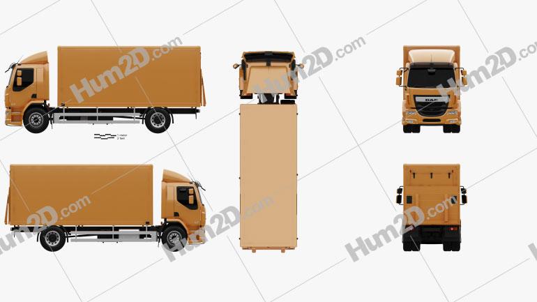 DAF LF Box Truck 2013 Clipart Image