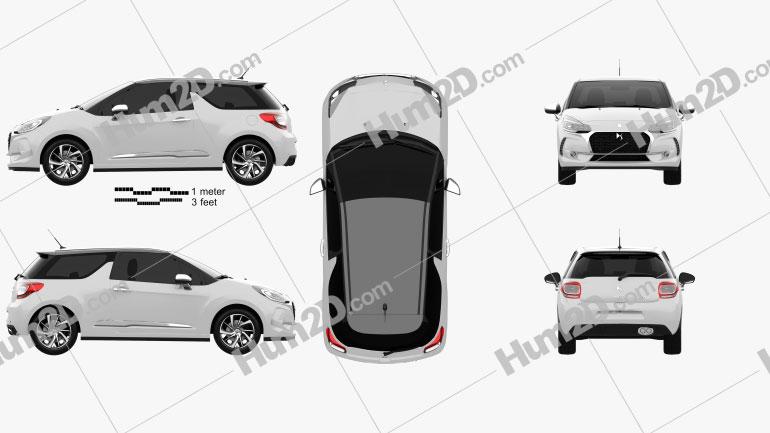 DS3 Performance Line hatchback 2016 car clipart