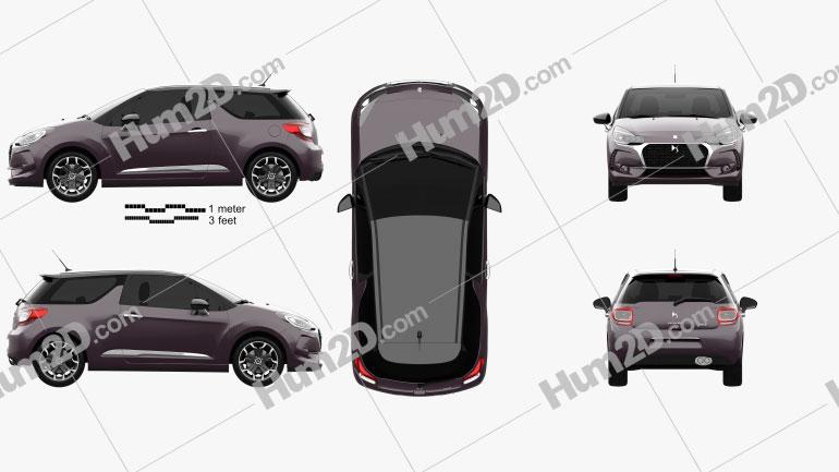 DS3 Prestige hatchback 2016 car clipart