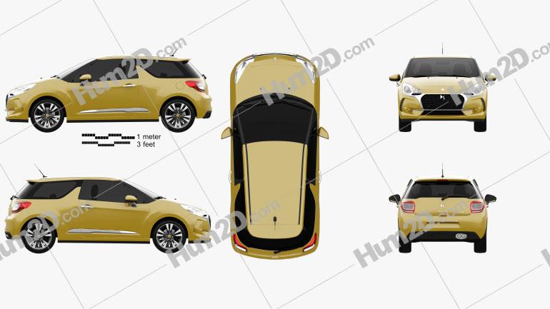 DS3 Chic hatchback 2016 Clipart Image