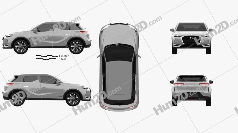 DS 3 Crossback E-Tense 2019 Clipart Image