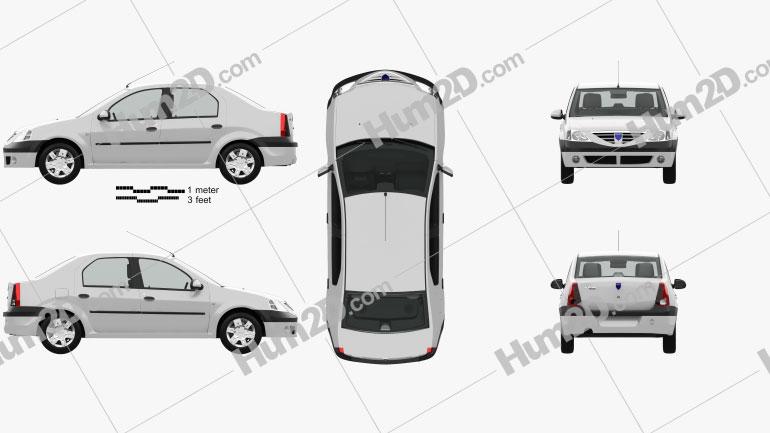 Dacia Logan with HQ interior 2004 car clipart