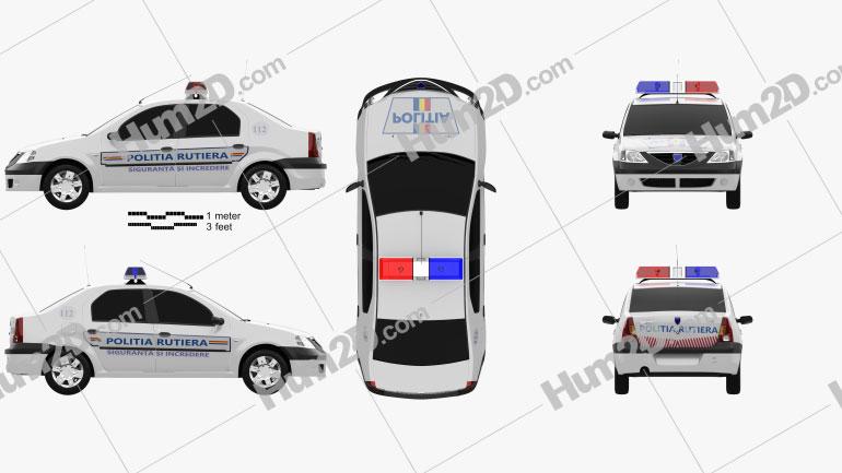 Dacia Logan Police Romania sedan 2004 car clipart