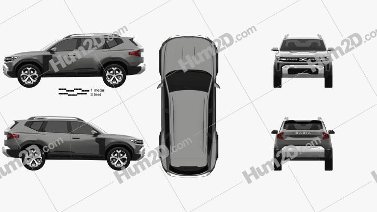 Dacia Bigster 2021 car clipart
