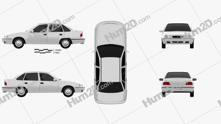 Daewoo Nexia Sedan 1996 car clipart