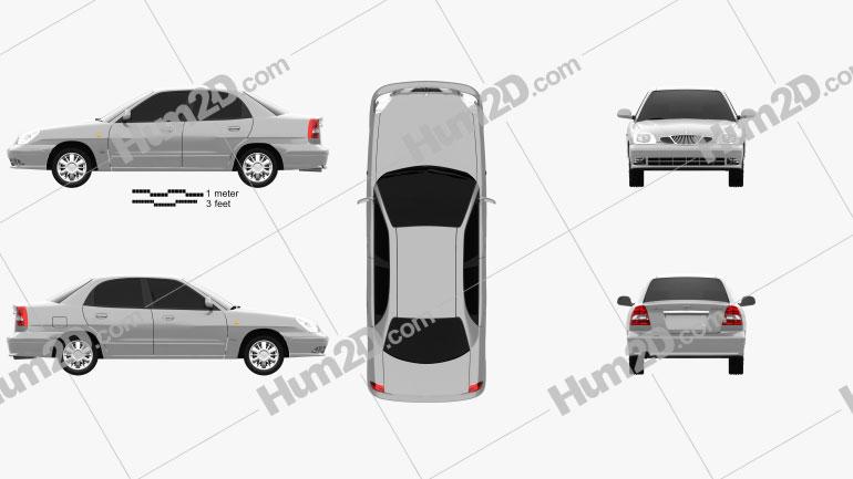 Daewoo Nubira sedan 1999 Clipart Image