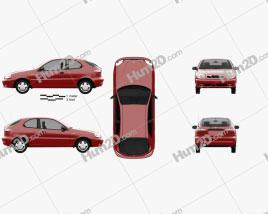 Daewoo Lanos 3-door 1997 car clipart