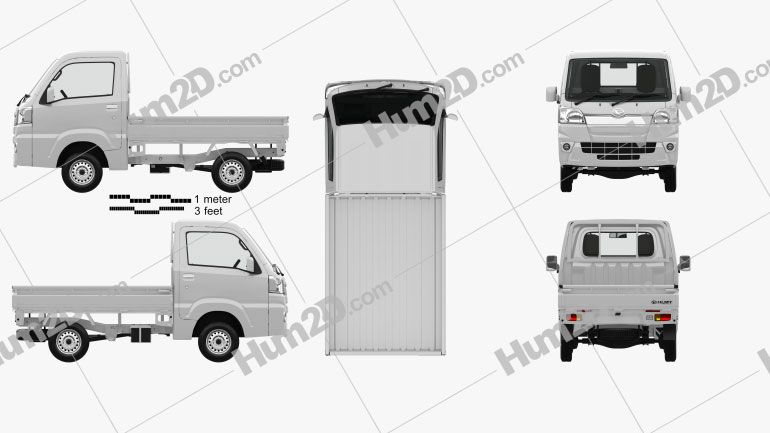 Daihatsu Hijet Truck with HQ interior 2014 Clipart Image