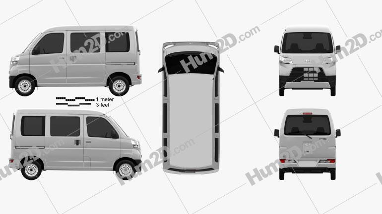 Daihatsu Hijet Cargo 2017 Clipart Image