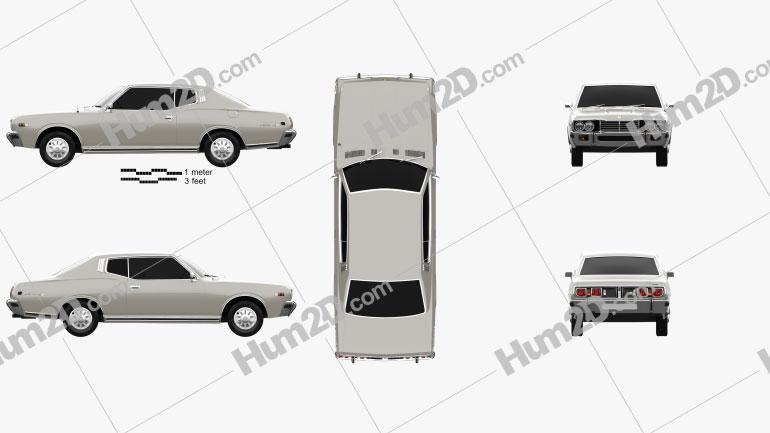 Datsun 260C coupe 1976 car clipart