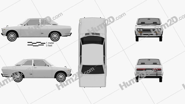 Datsun Bluebird 1600 SSS Coupe 1968 car clipart