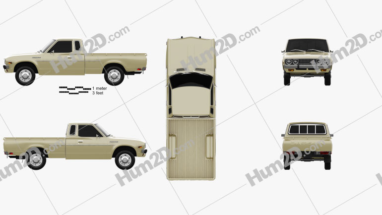 Datsun 620 King Cab 1977 car clipart