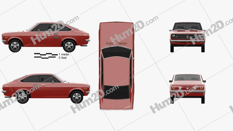 Datsun 1200 coupe 1970 car clipart