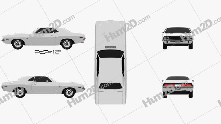 Dodge Challenger hardtop 1970 Clipart Image