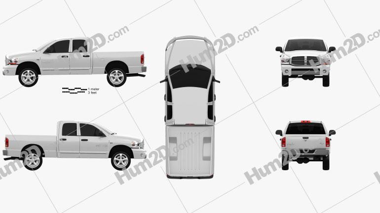 Dodge Ram 1500 Quad Cab Laramie 140-inch Box 2008 Clipart Image