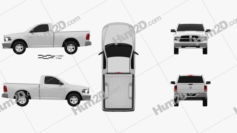 Dodge Ram 1500 Regular Cab SLT 6-foot 4-inch Box 2012 car clipart