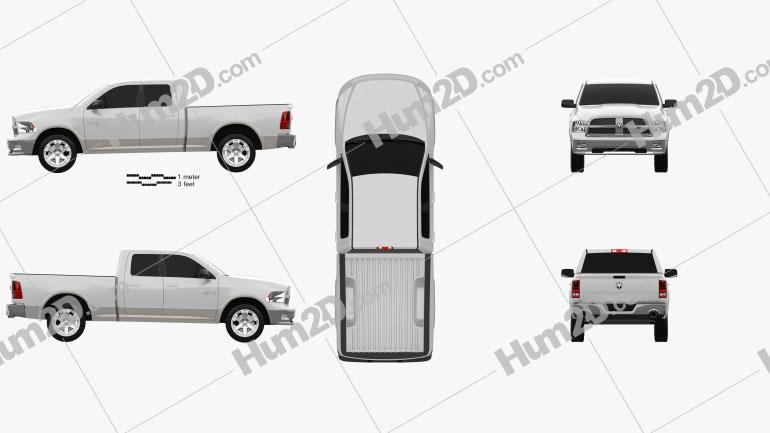 Dodge Ram 1500 Quad Cab Laramie 6-foot 4-inch Box 2012 Clipart Image
