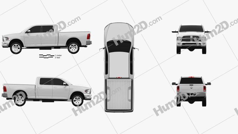 Dodge Ram 2500 Crew Cab Big Horn 6-foot 4-inch Box 2012 Clipart Image
