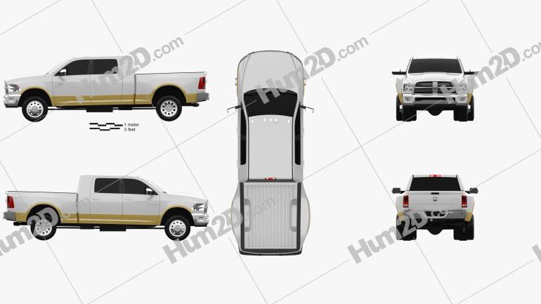 Dodge Ram 3500 Mega Cab Dually Laramie 6-foot 4-inch Box 2012 Clipart Image