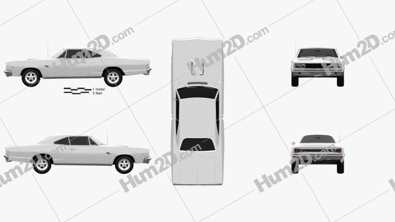 Dodge Coronet R/T Coupe 1968 car clipart