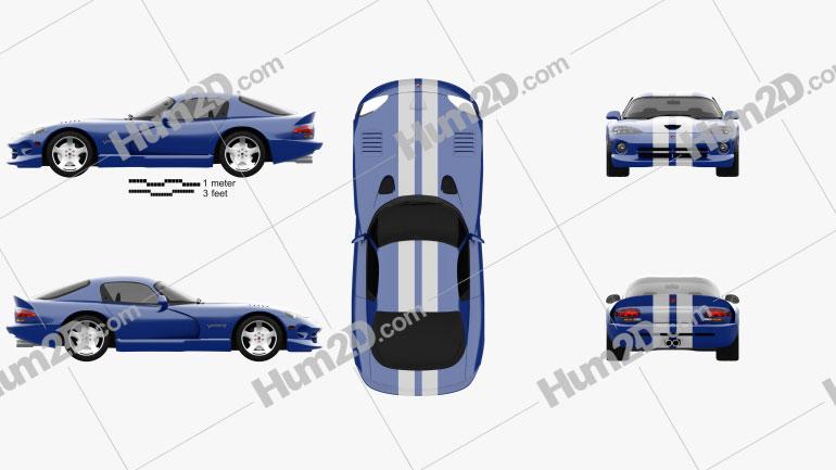 Dodge Viper GTS 1998 Clipart Image