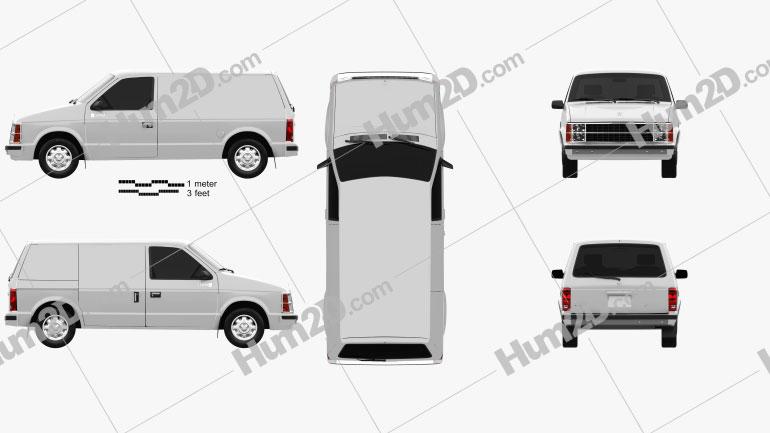 Dodge Mini Ram Van 1984 Clipart Image