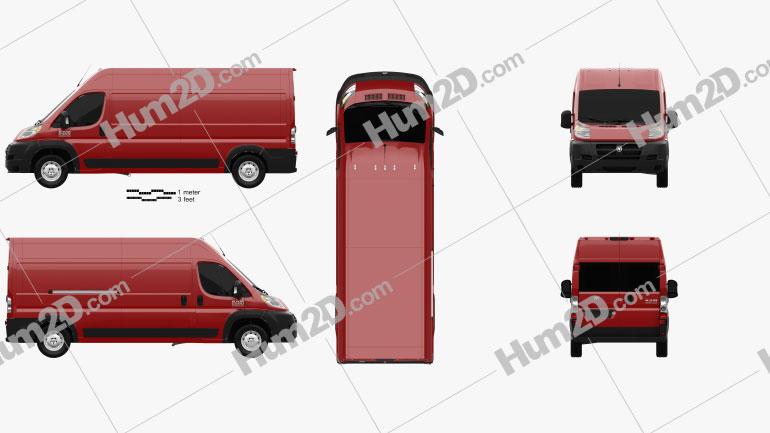 Dodge Ram ProMaster Cargo Van L3H2 2013 clipart