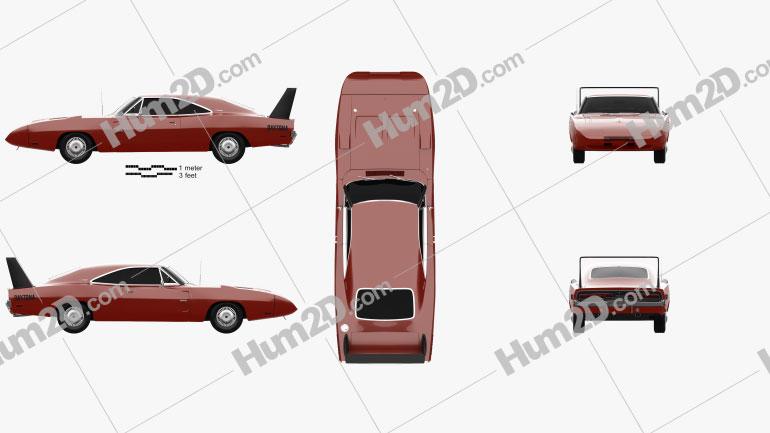 Dodge Charger Daytona Hemi 1969 car clipart