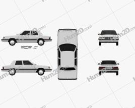 Dodge Aries K sedan 1988 car clipart